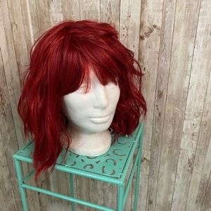 Human Blend Beach Wave Short Red Wig